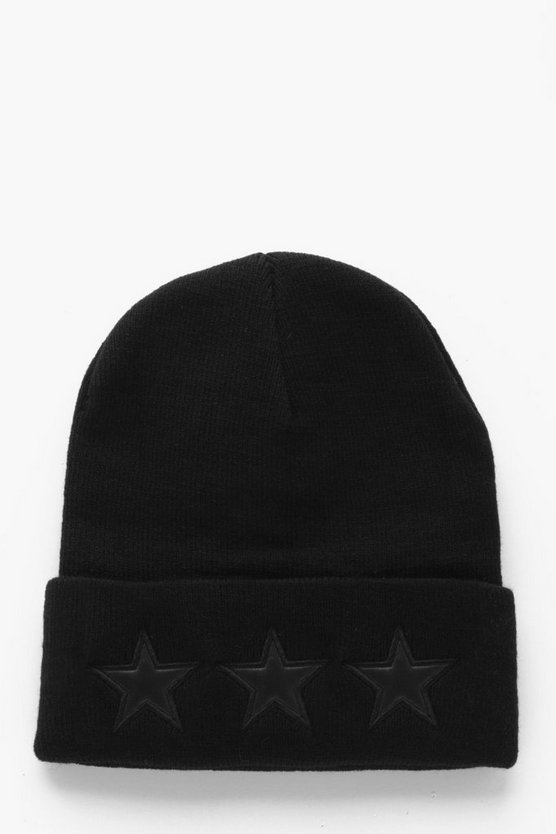 PU Star Applique Beanie
