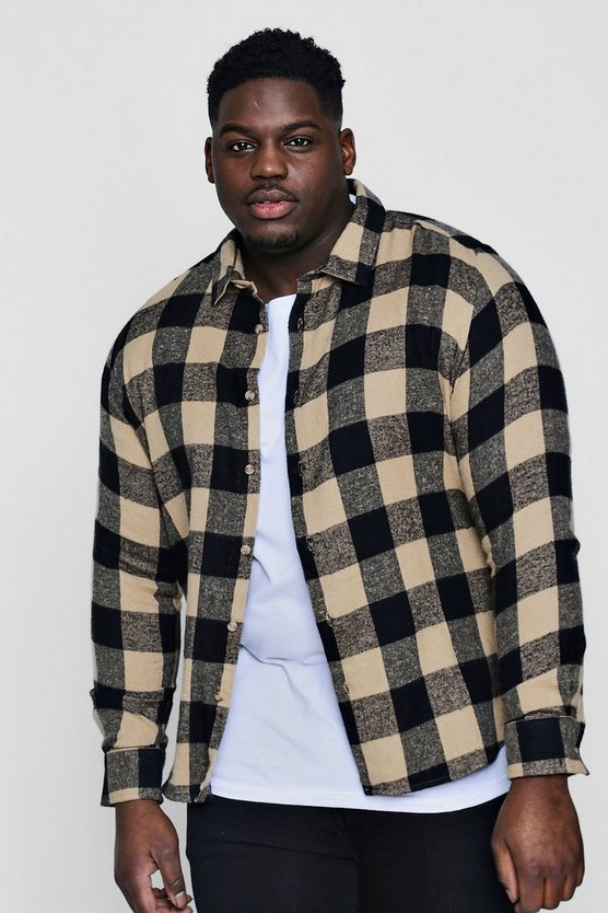 Big And Tall Camel Large Check Shirt