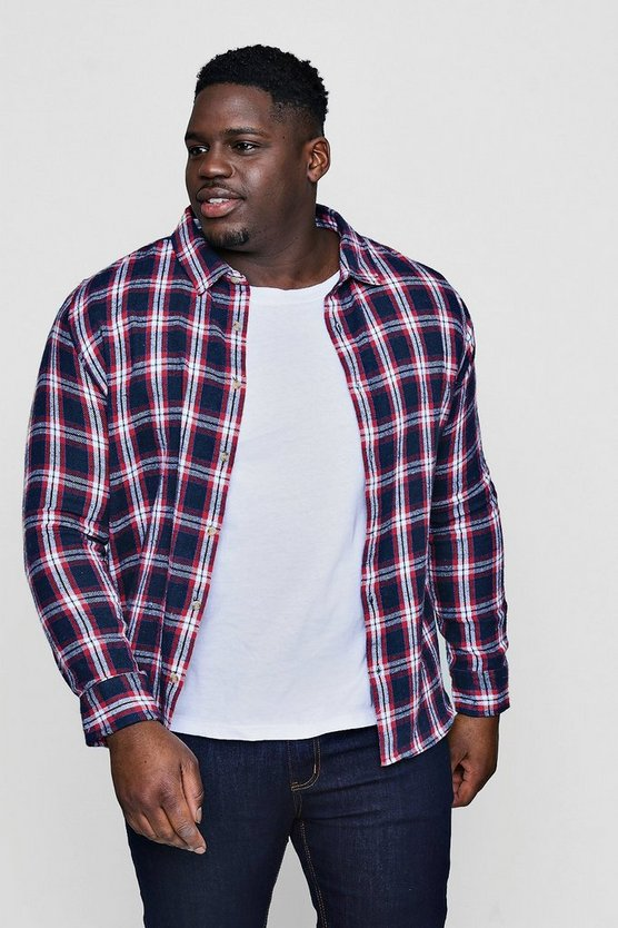 Big And Tall Navy Brushed Flannel Check Shirt