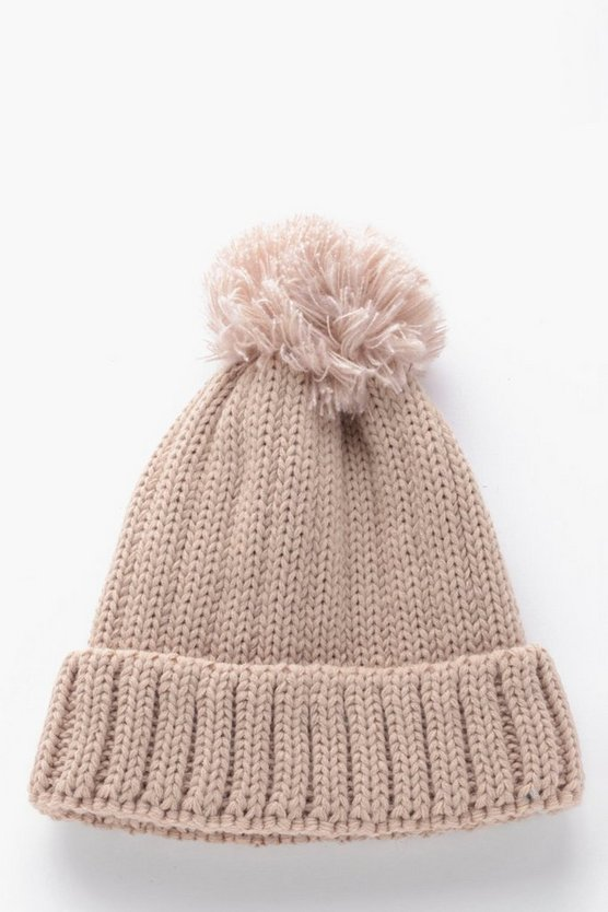 Ribbed Bobble Beanie