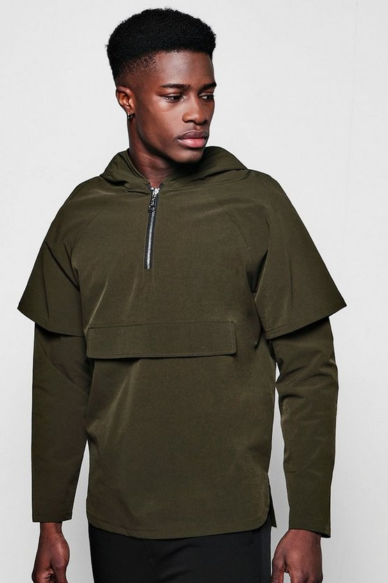 Faux Layer Hooded Half Zip Cagoule