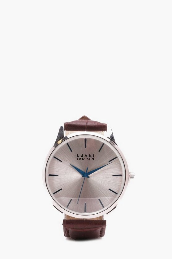 MAN Watch With Faux Leather Strap In Brown
