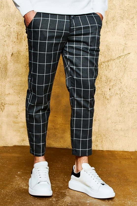 Charcoal Check Tailored Trousers
