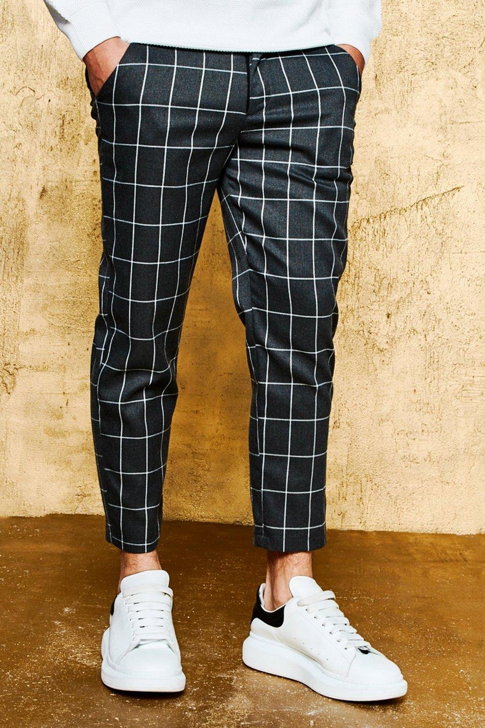 ed74bb0ba7dd6 pantalon ajusté à carreaux | Boohoo