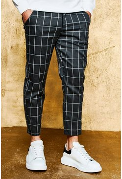 Mens Charcoal Check Tailored Trousers