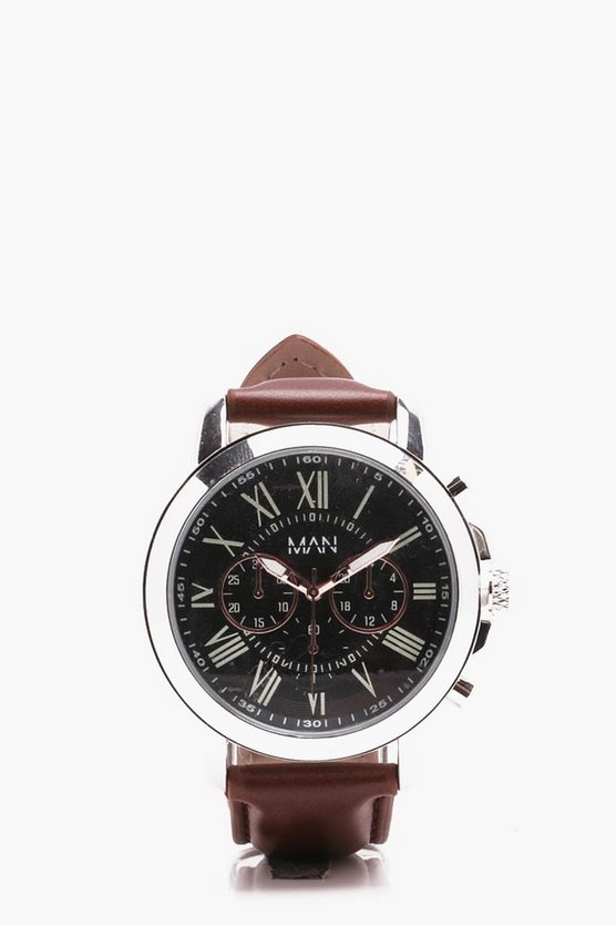 Dark Brown Strap With Multiface Watch
