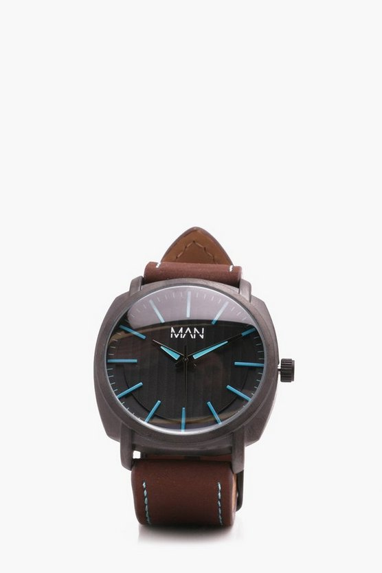 Tan Watch With Turquoise Detail