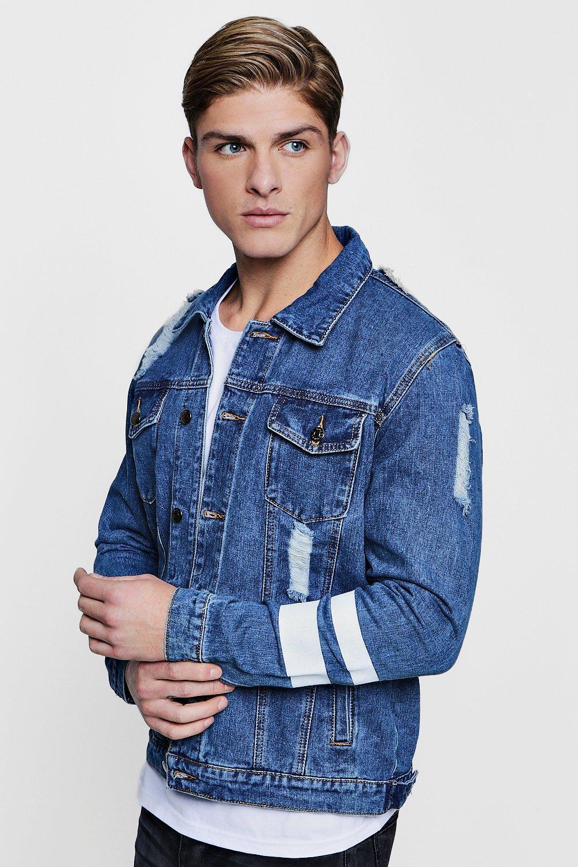 Distressed Denim Western Jacket with Paint Stripe