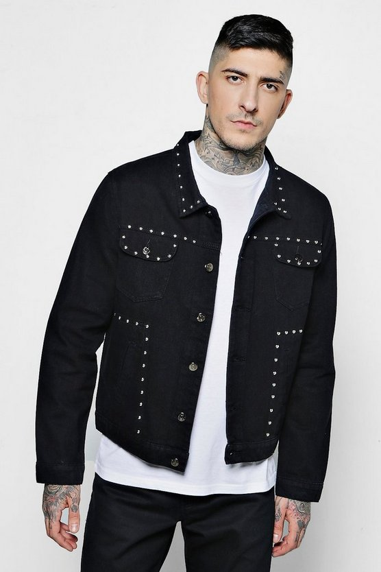 Mens Washed black Studded Denim Western Jacket