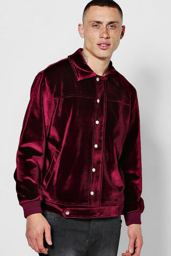 Mens Burgundy Velour Coach Jacket