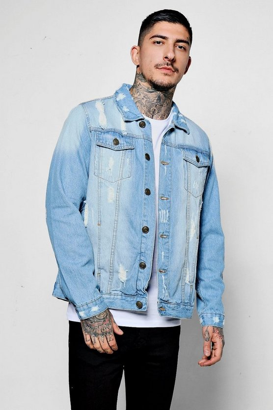 Jacke in Used-Optik aus Denim im Western-Style