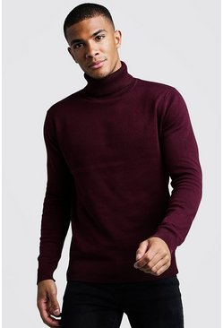 Mens Burgundy Roll Neck Jumper