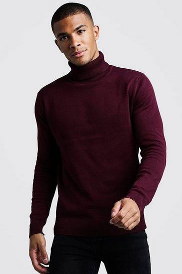 Burgundy Roll Neck Jumper