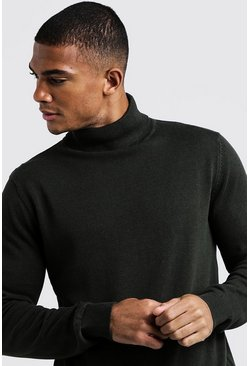 Mens Khaki Roll Neck Jumper