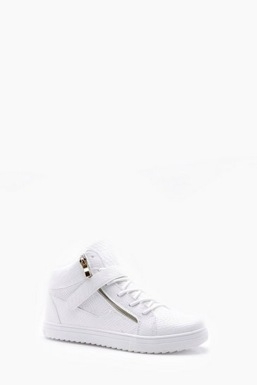 White Faux Snake Zip High Top