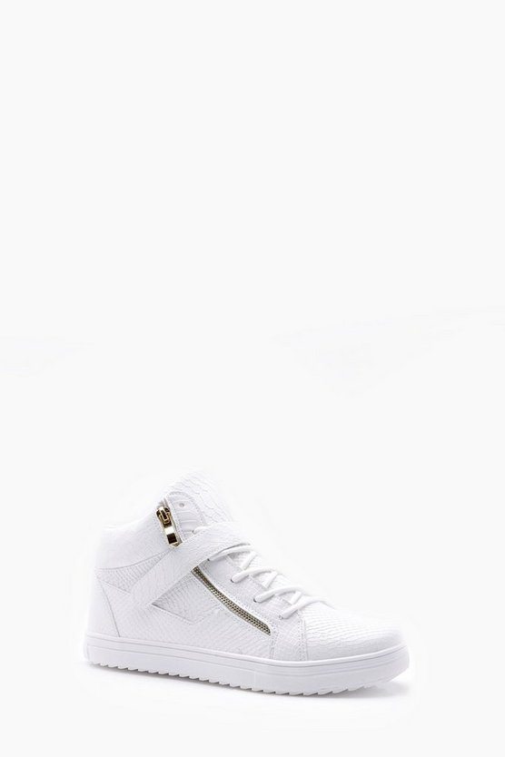 Mens White Faux Snake Zip High Top