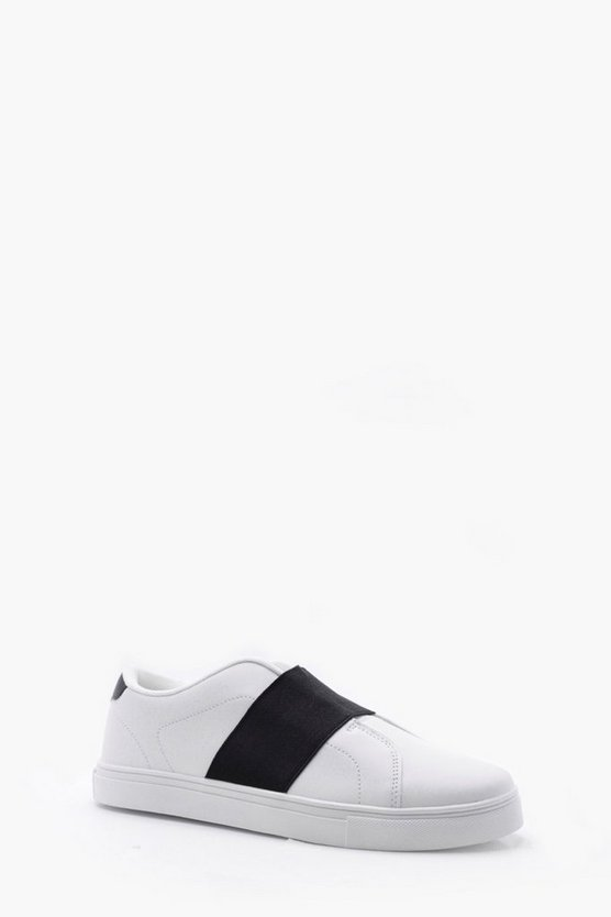 Mens White Slip On Elastic Trainer
