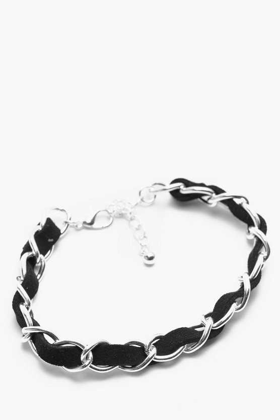 Silver Chain & Leather Bracelet