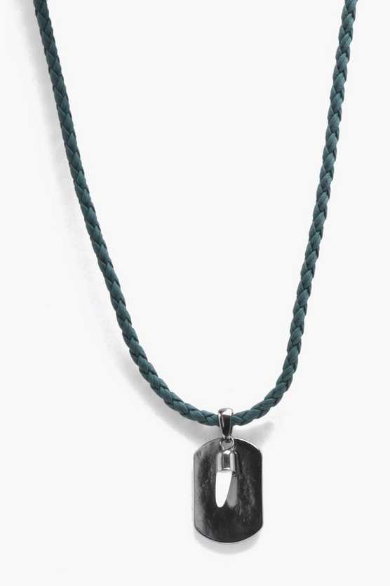 Mens Black Cord Necklace With Semi Precious Horn Pendant