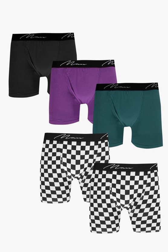 5 Pack MAN Trunks With Checkerboard