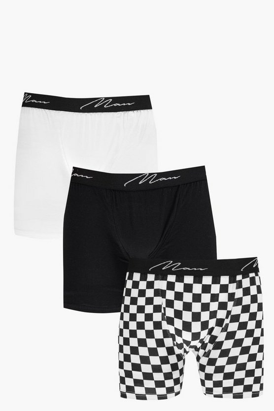 3 Pack MAN Trunks With Checkerboard