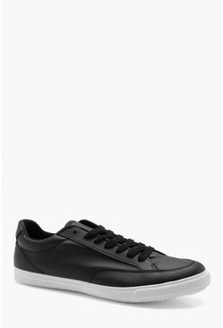 Mens Black PU Lace Up Plimsole