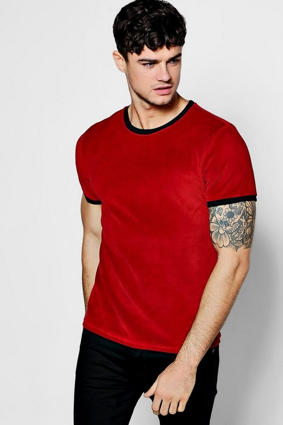 Velour T-Shirt with Contrast Rib