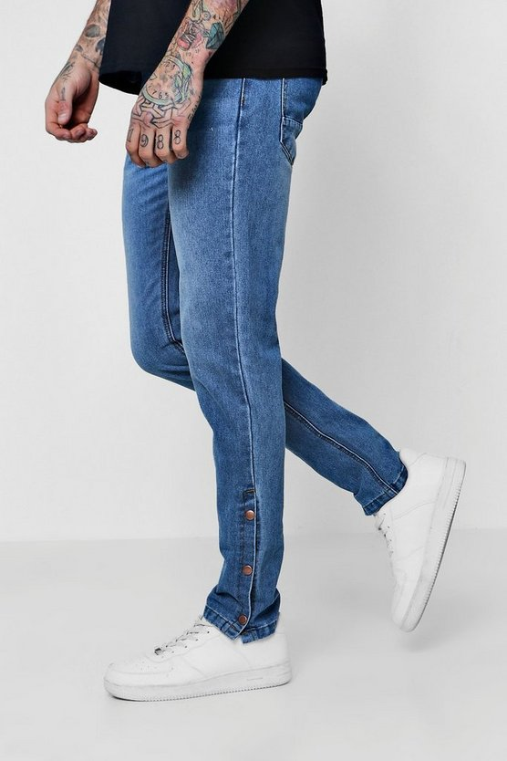 Skinny Fit Jeans with Retro Popper Detail