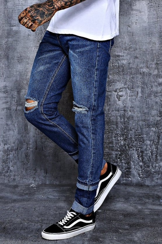 Skinny Fit Ripped Knee Jeans with Faux Hem