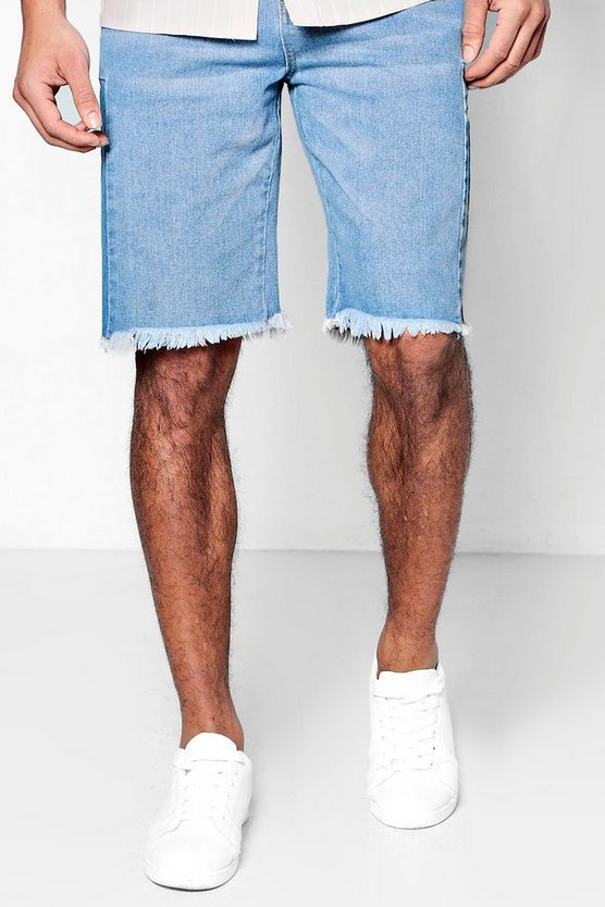 Bermuda Denim Shorts with Raw Hem