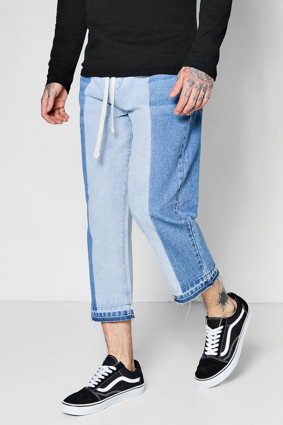 Cropped Loose Fit Half Bleach Skater Jeans