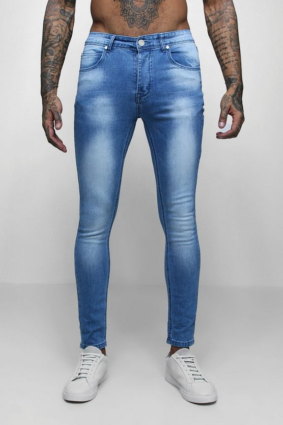 Super Skinny Fit Washed Denim Jeans
