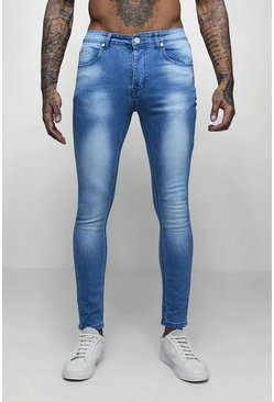 Mens Blue Super Skinny Fit Washed Denim Jeans