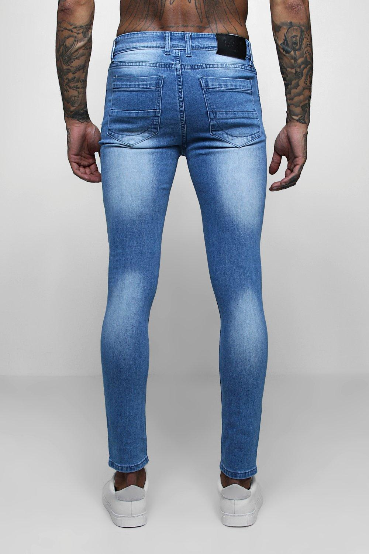 ajuste Azul skinny gris lavados denim super Jeans con fwxgvAIFq