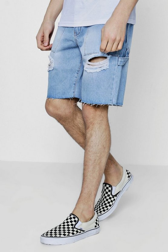 Distressed Bermuda Denim Shorts with Raw Hem
