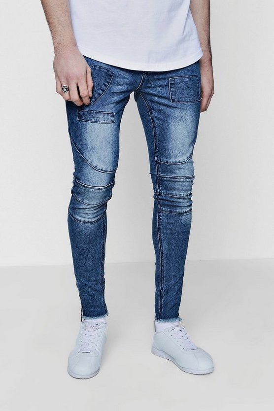 Spray On Skinny Jeans With Biker Panelling