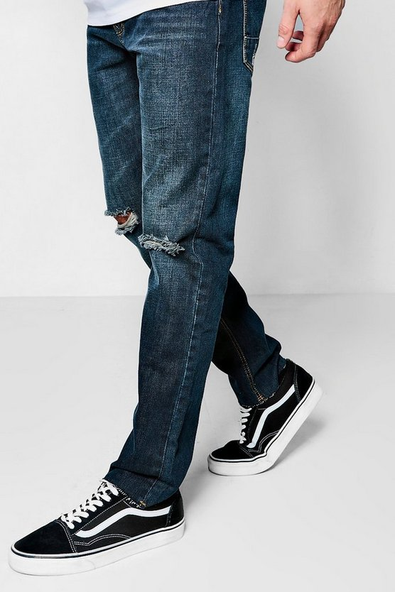 Slim Fit Jeans With Ripped Knee And Raw Hem