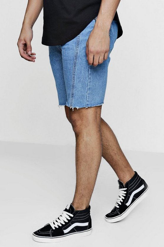 Mens Vintage wash Bermuda Denim Shorts with Seam Detail