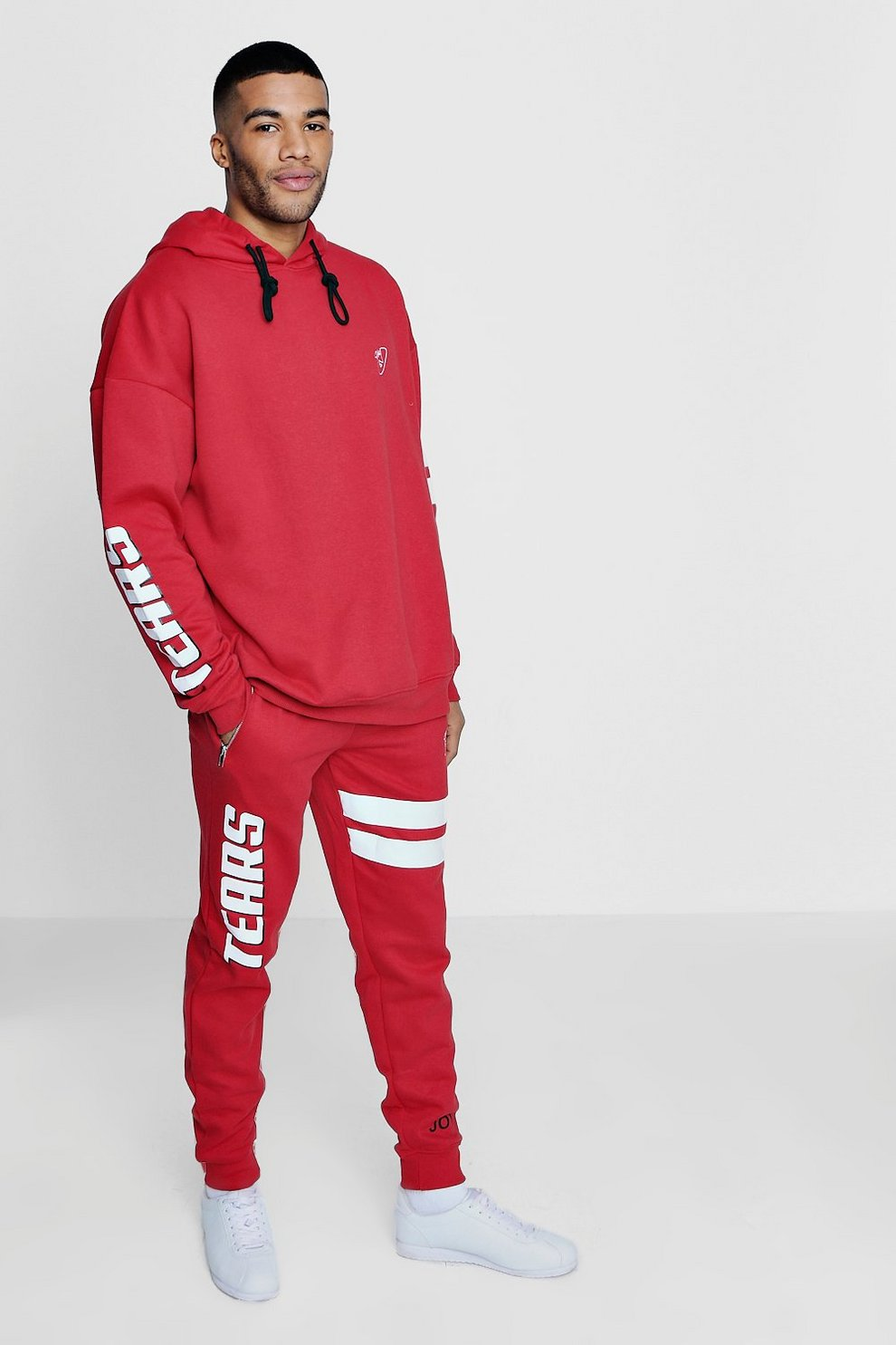 79b3f8e3f5 Mens Red Oversized Tracksuit with Stripe Print