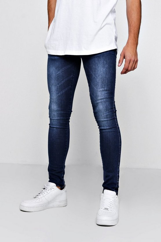 Mens Vintage wash Spray On Skinny Vintage Wash Jeans