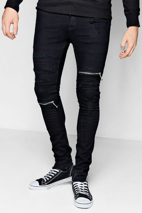 Spray On Skiiny Jeans with Zips & Distressing