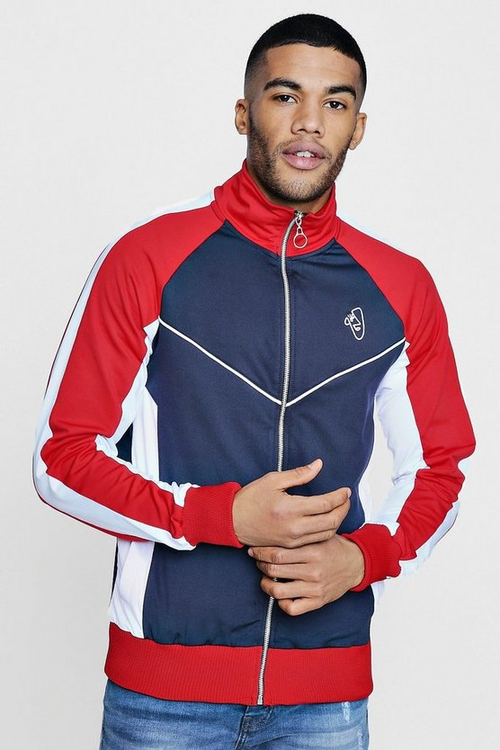 Mens Navy Track Top With Colour Blocking