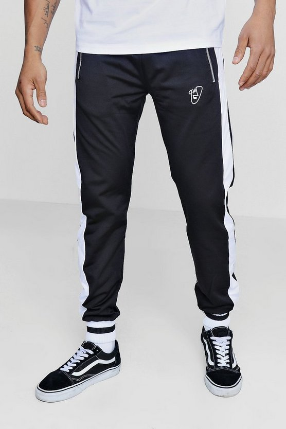 Regular Fit Tricot Joggers with Side Piping