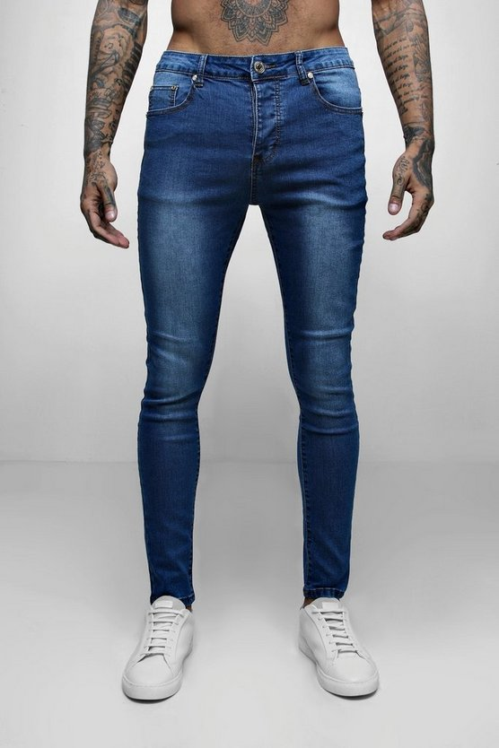 Mens Blue Wash Spray On Skinny Jeans
