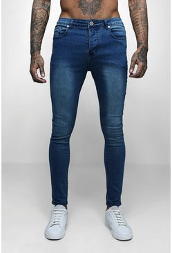 Mens Mid Blue Spray On Skinny