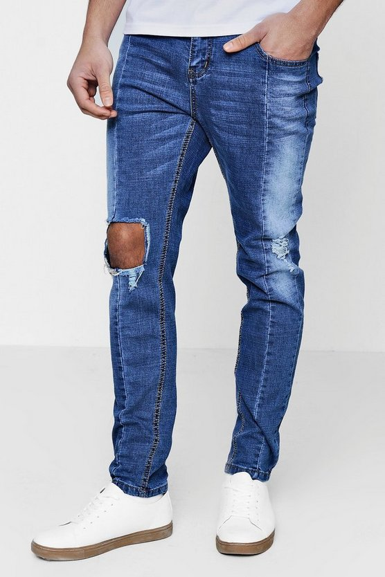 Skinny Fit Ripped Knee Panelled Seam Jeans