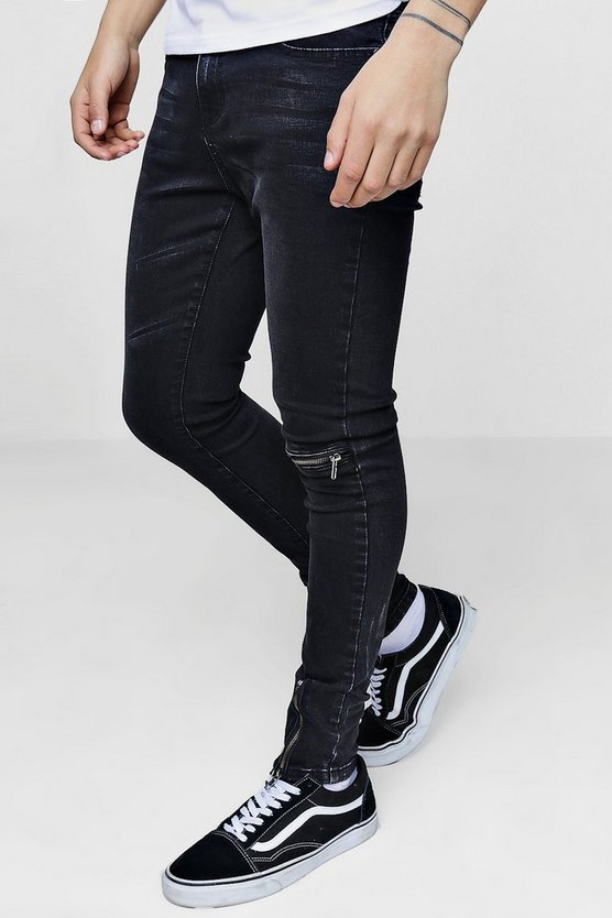 Super Skinny Jeans With Single Knee Zip