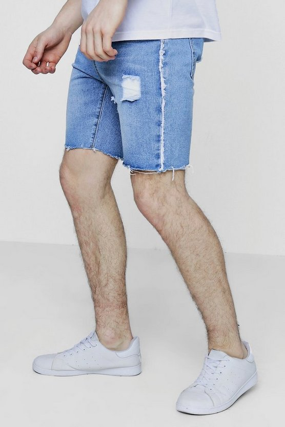 Mens Vintage wash Slim Fit Raw Seam And Hem Denim Shorts