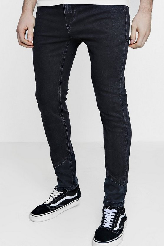 Skinny Fit Jeans With Spliced Diagonal Hem