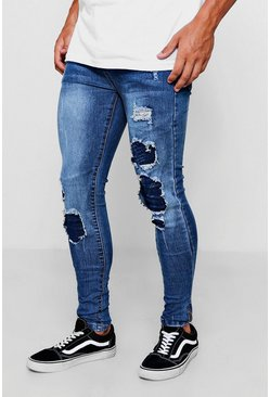 Mens Mid blue Spray On Skinny Jeans With Multi Rip And Repair